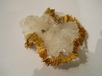 ANDREW GRIMA 18ct gold brooch with crystallised agate
