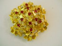 G.WEIL. gold,ruby and diamond brooch