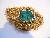 G. WEIL 18CT GOLD,DIOPTASE STONE AND DIAMONDS.