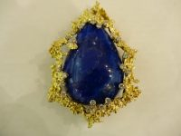 GEORG WEIL 18ct GOLD,LAPIZ AND DIAMOND PENDAT/BROOCH