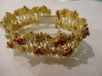 ALAN GARD 18CT GOLD,DIAMOND  AND RUBY BRACELET 1971,SIGNED