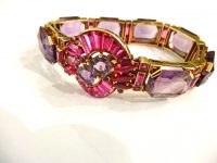 14CT GOLD,AMETHIST AND SYNTHETIC RUBY BRACELET C 1940S