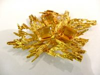 CITRINE AND 18CT GOLD BROOCH,marked 750