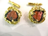ANDREW GRIMA 18ct GOLD AND WATERMELON TOURMALINE CUFFLINKS,SIGNED HJco