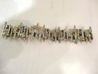 WHITE GOLD,DIAMONDS AND SAPHIRE BRACELET,lONDON 1973 WITH MAKERS MARKS
