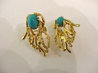 EARINGS BY JOHN DONALD,18CT GOLD AND TURQUOISE