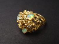 ALAN GARD RING, 4 OPALS,ONE DIAMOND 1970