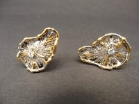 CHARLES DE TEMPLE WHITE GOLD/YELLOW GOLD,DIAMOND EARINGS 70S