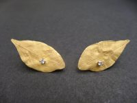 ANDREW GRIMA 18ct GOLD LEAF EARINGS,SIGNED