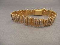 CHARLES DE TEMPLE WHITE AND YELLOW GOLD BRACELET,SIGNED