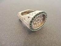 ANDREW GRIMA WHITE GOLD AND EMERALD RING,SIGNED