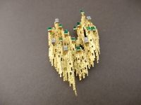 ANDREW GRIMA EMERALD AND DIAMOND BROOCH,SIGNED GRIMA