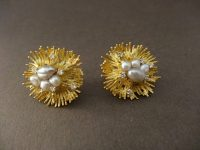 EARINGS BY ALAN GARD WITH PEARLS AND DIAMONDS,SIGNED