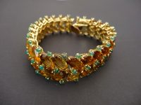 FRENCH CITRINE AND EMERALD BRACELET 18ct.