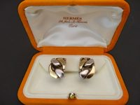 HERMES WHITE METAL AND GOLD EARINGS,IN BOX