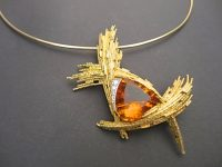 ANDREW GRIMA CITRINE AND DIAMOND PENDANT 1970