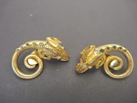 LALAOUNIS 18K GOLD EARINGS WITH SMALL EMERALDS,C1970S