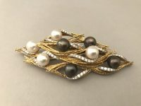 ANDREW GRIMA PEARL AND DIAMOND BROOCH,signed grima