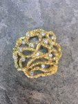 ANDREW GRIMA GOLD AND DIAMOND BROOCH,DATED 1974